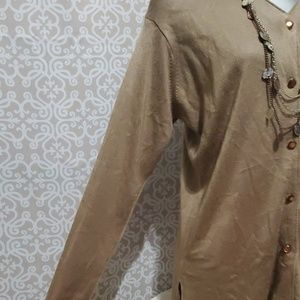 Sweaters - Tan Button Down Cardigan 40%Wool SizeM Long Sleeve